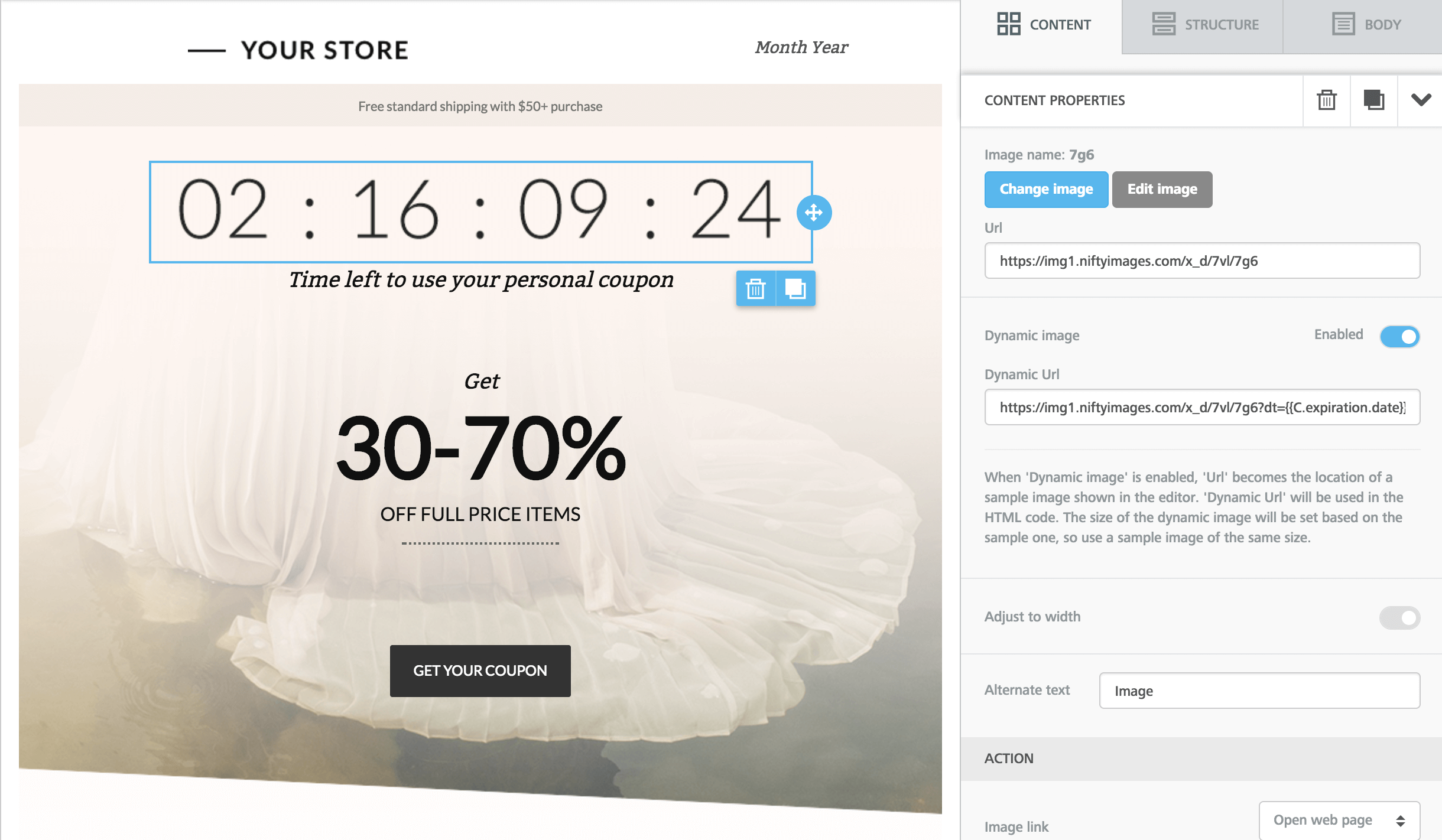 Using dynamic images for countdown timers and personalized content