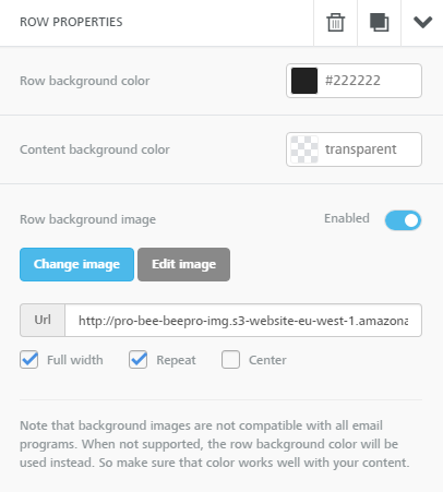 Setting row background image properties